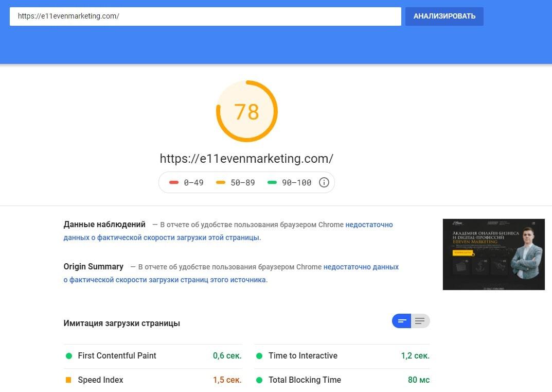 Скорость загрузки нашего сайта на десктопе по данным Google Page Speed Insight