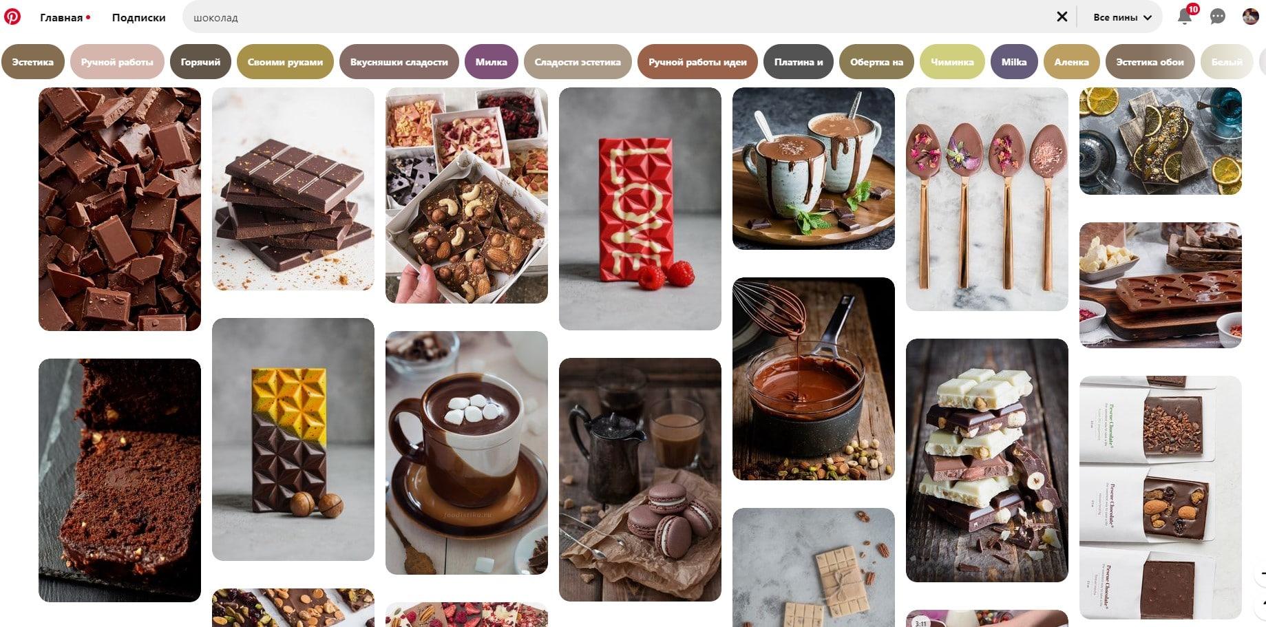 Подборка контента на Pinterest по ключевому слову «шоколад»