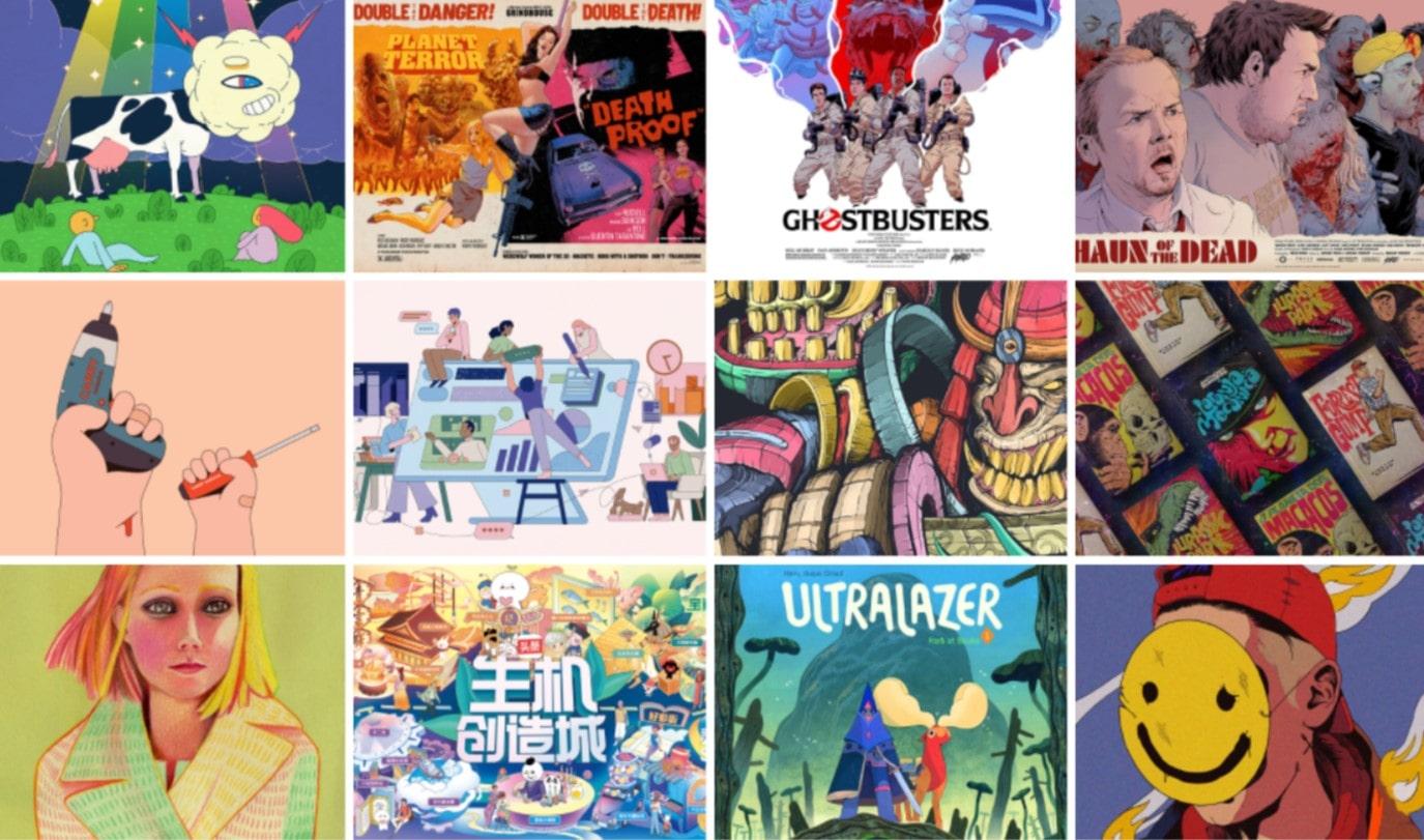 Коллаж из различных иллюстрированных постеров к фильмам и несколько красивых иллюстраций