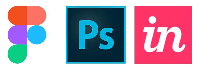Figma, Adobe Photoshop & InVisionApp