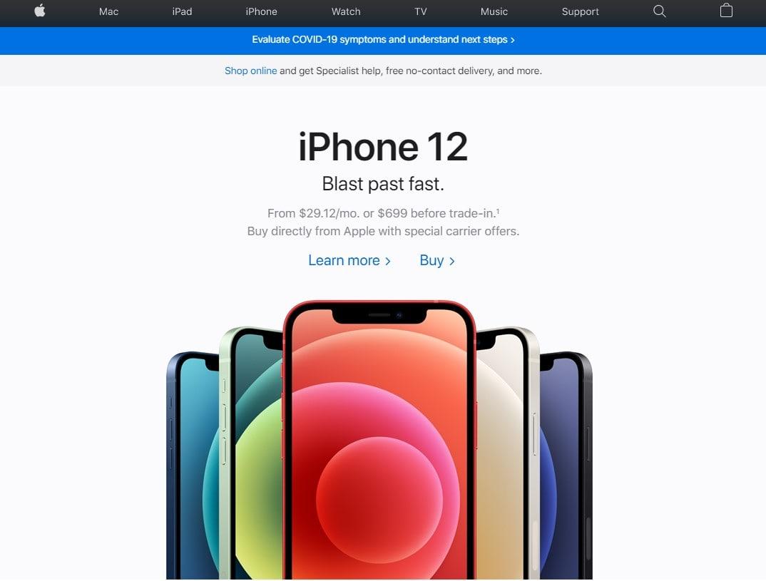 Чистый дизайн сайта Apple.com