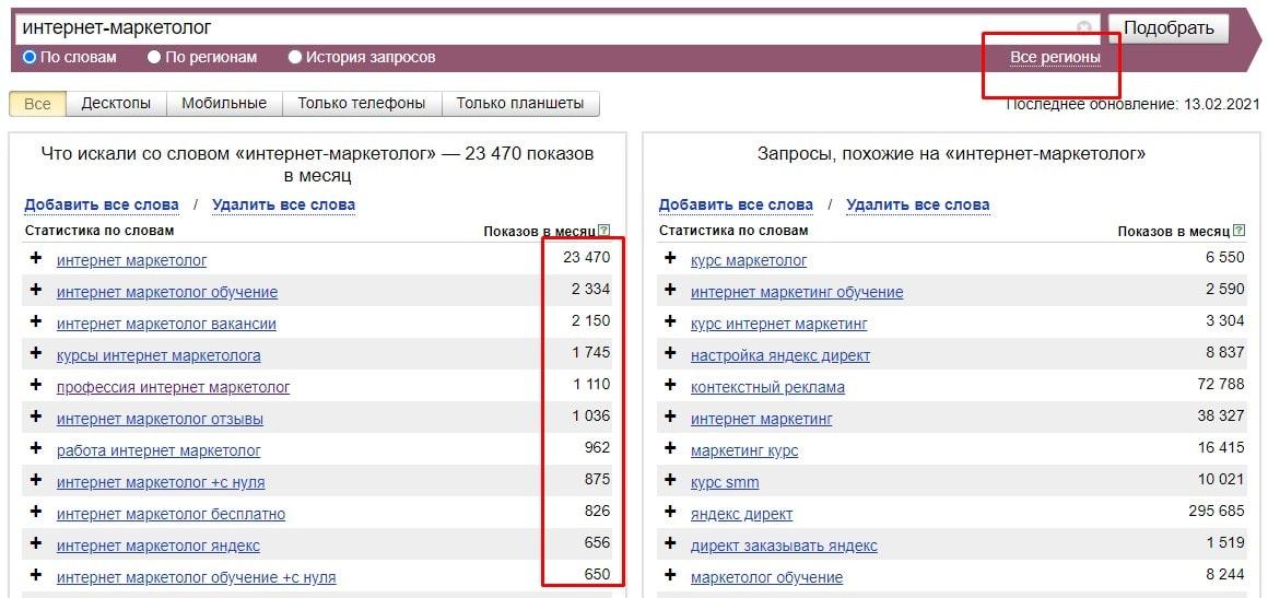 Данные wordstat.yandex.ru по запросу «интернет-маркетолог» на 15.02.2021