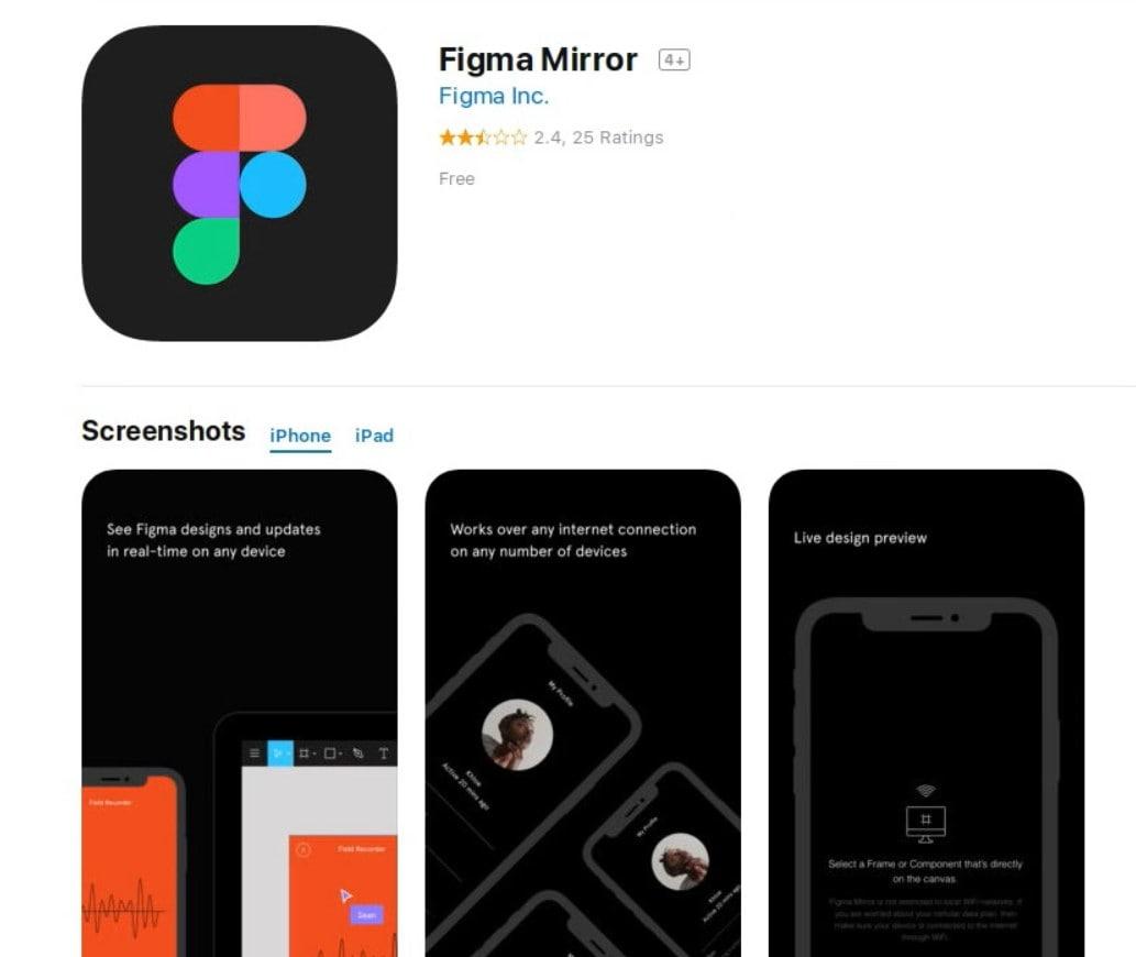 Приложение для тестирования макетов и прототипов Figma Mirror