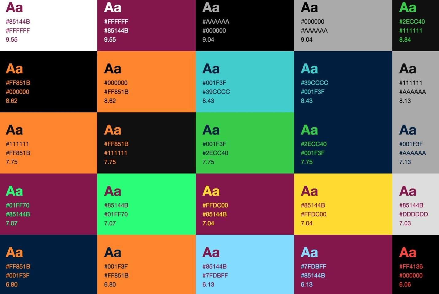Контрастные цвета для типографики
