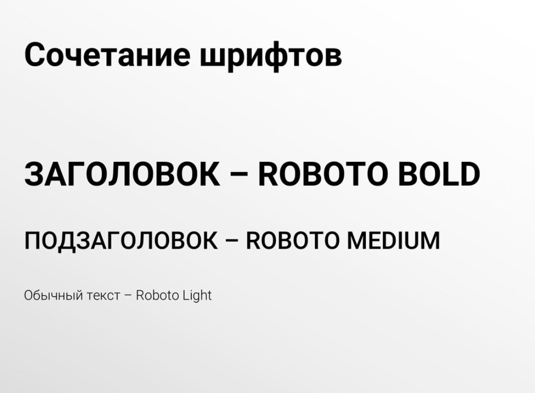 Пример сочетания шрифтов из одного семейства Roboto